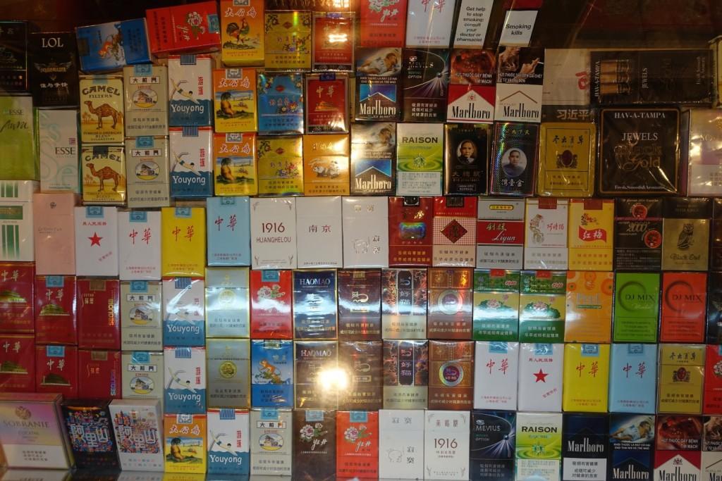 und die verschiedensten Zigarettensorten