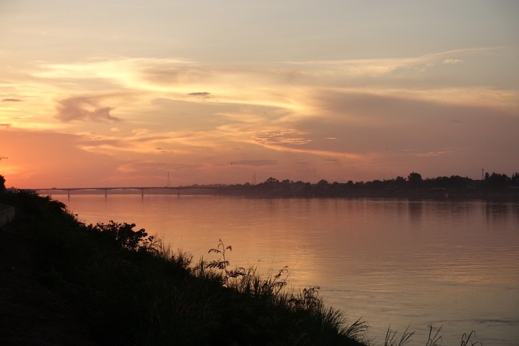 abendliche Aussicht auf den Mekong