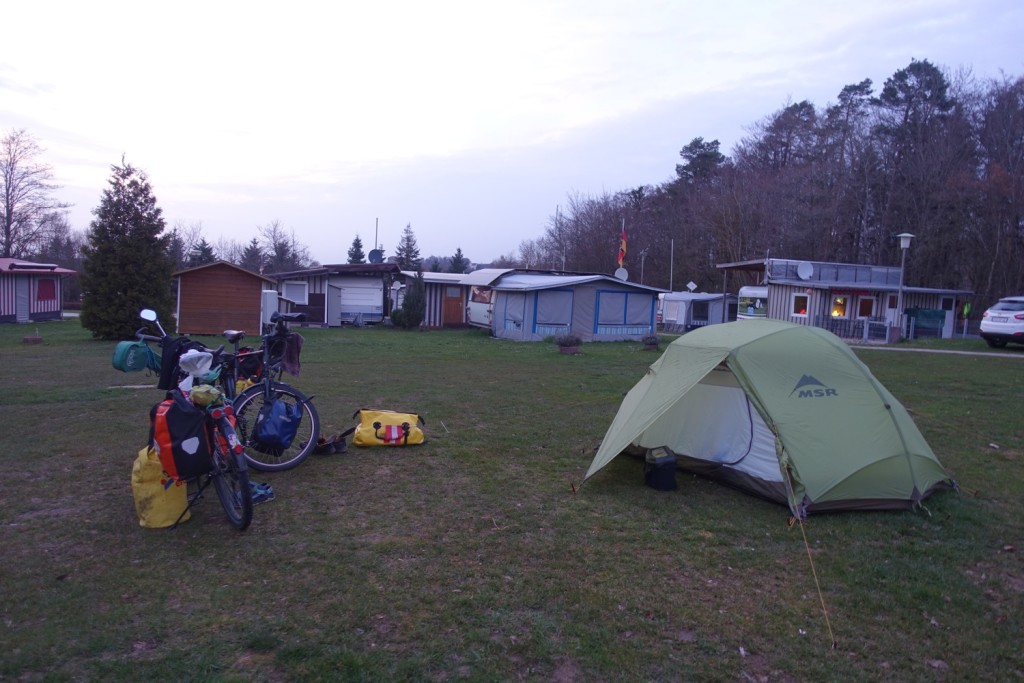 in the evening on the camp site